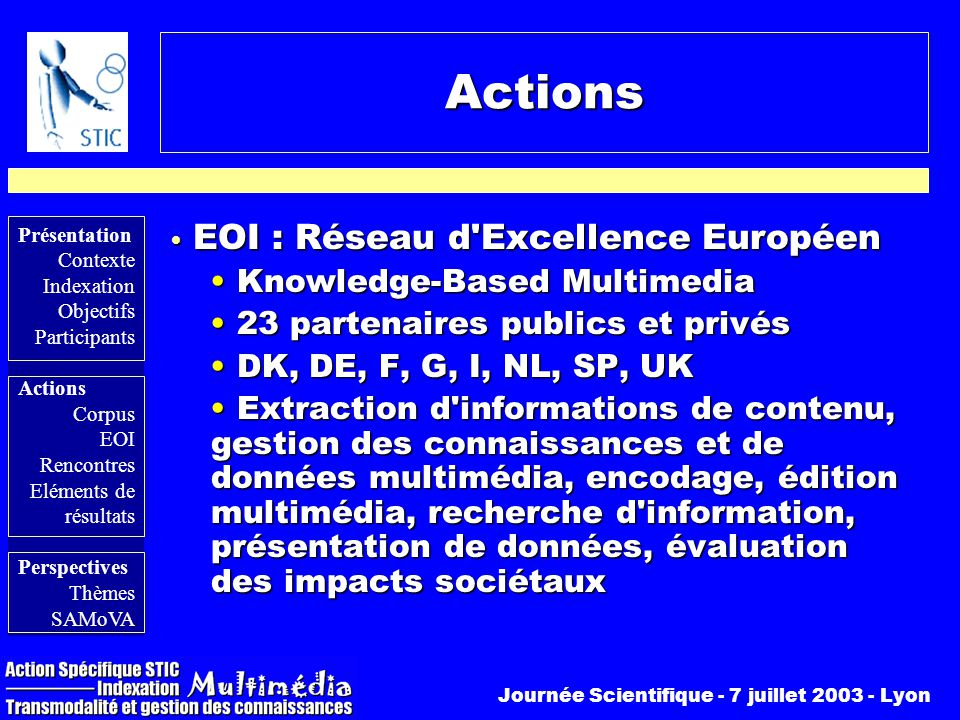 Actions EOI : Réseau d Excellence Européen Knowledge-Based Multimedia