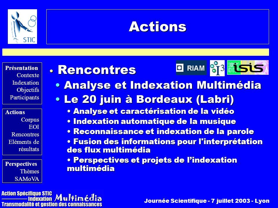 Actions Rencontres Analyse et Indexation Multimédia
