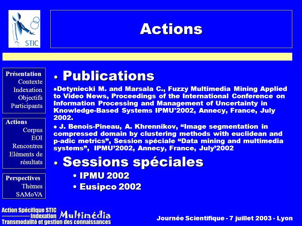 Actions Publications Sessions spéciales IPMU 2002 Eusipco 2002