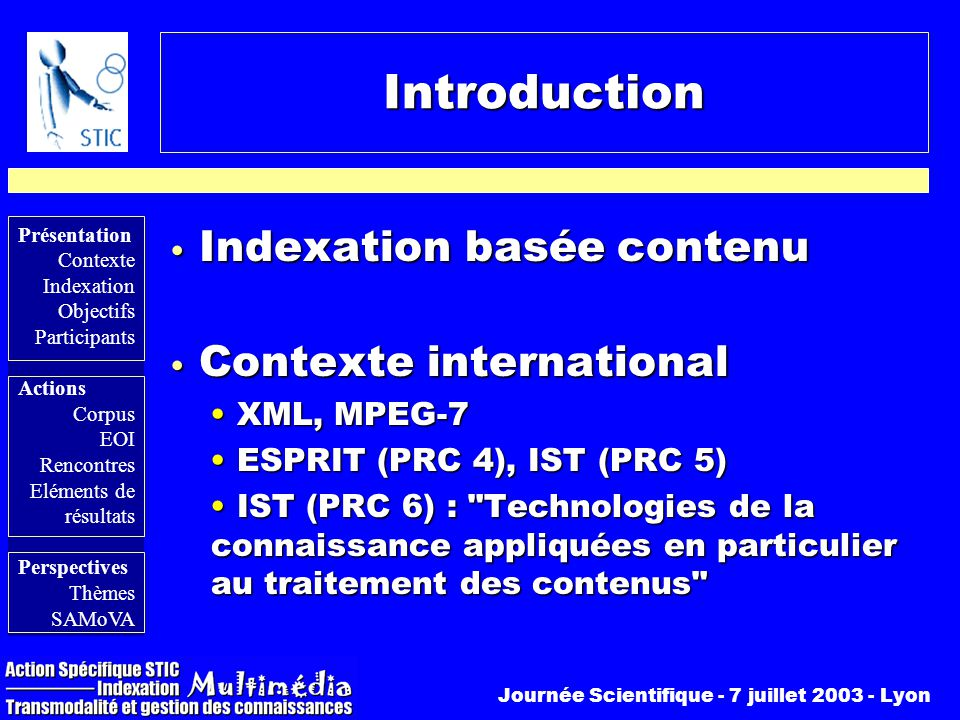 Introduction Indexation basée contenu Contexte international