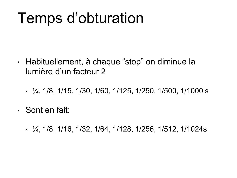 Temps d'obturation Habituellement, à chaque stop on diminue la lumière d'un facteur 2. ¼, 1/8, 1/15, 1/30, 1/60, 1/125, 1/250, 1/500, 1/1000 s.