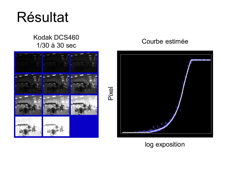 Résultat Kodak DCS460 1/30 à 30 sec Courbe estimée Pixel
