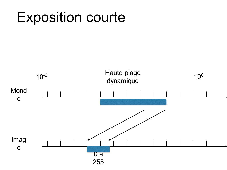 Exposition courte 10-6 Haute plage dynamique 106 Monde Image 0 à 255