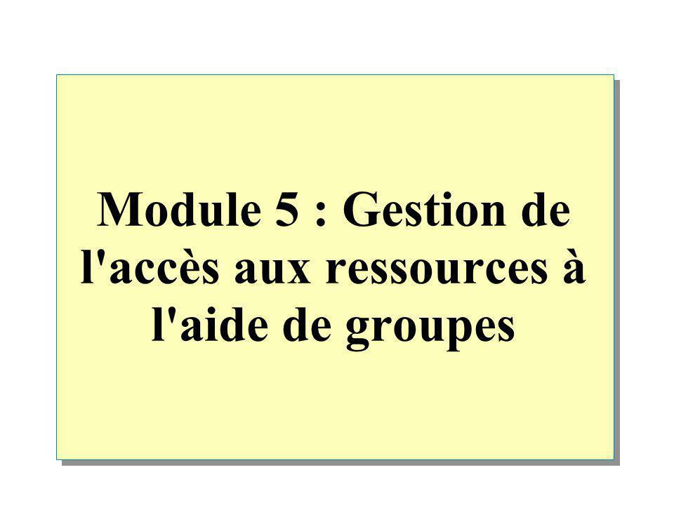Module 5 : Gestion de l accès aux ressources à l aide de groupes