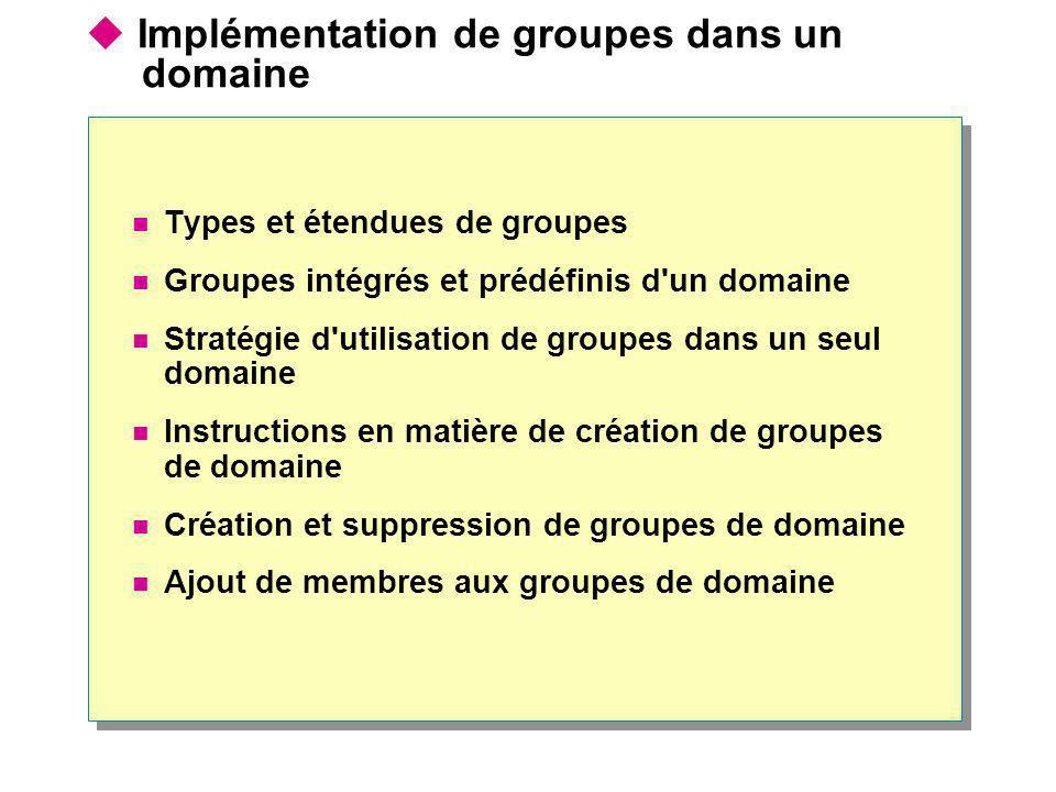 Implémentation de groupes dans un domaine