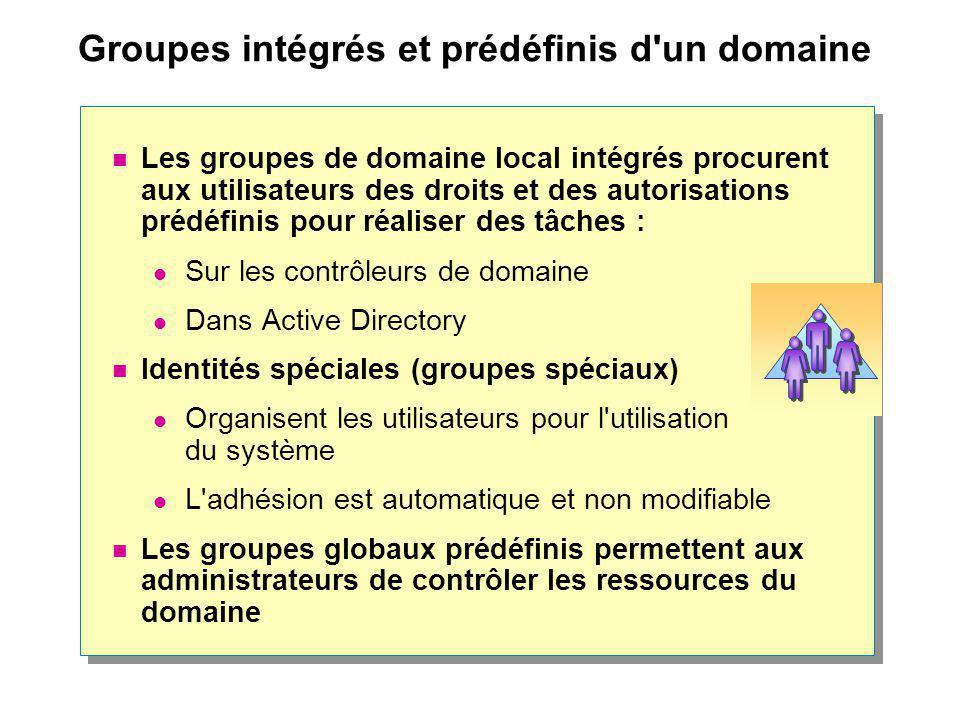 Groupes intégrés et prédéfinis d un domaine