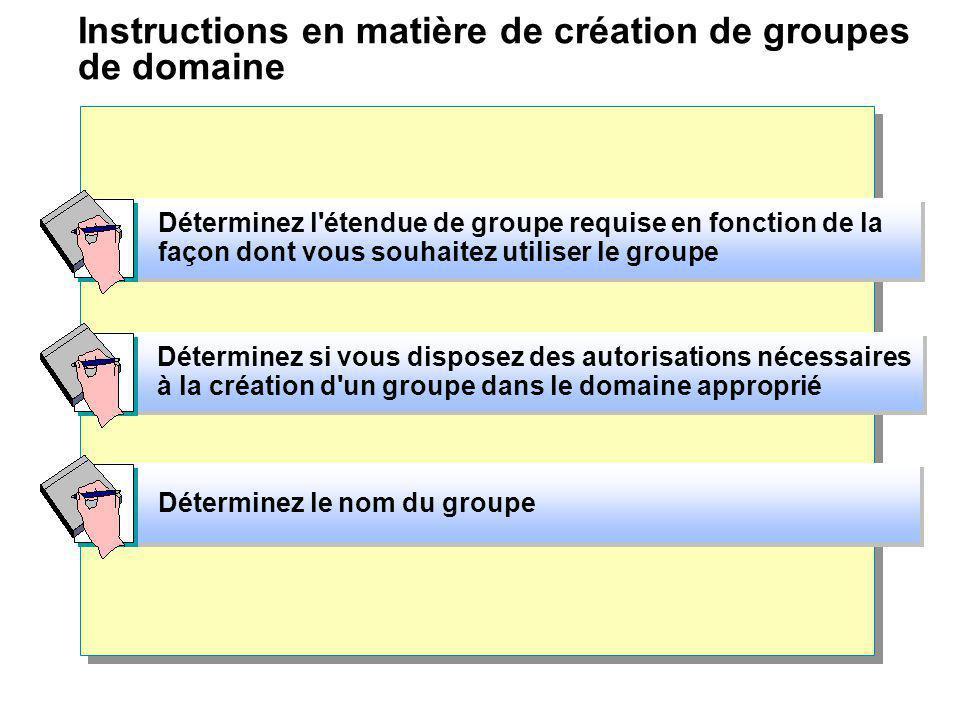 Instructions en matière de création de groupes de domaine