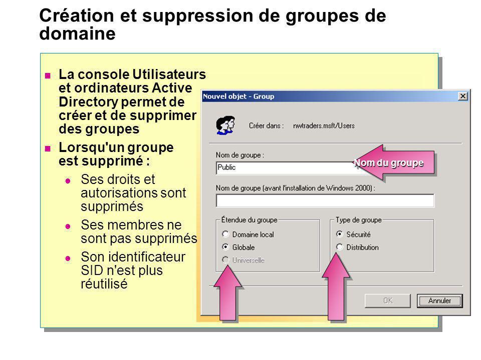 Création et suppression de groupes de domaine