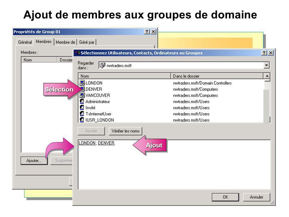 Ajout de membres aux groupes de domaine
