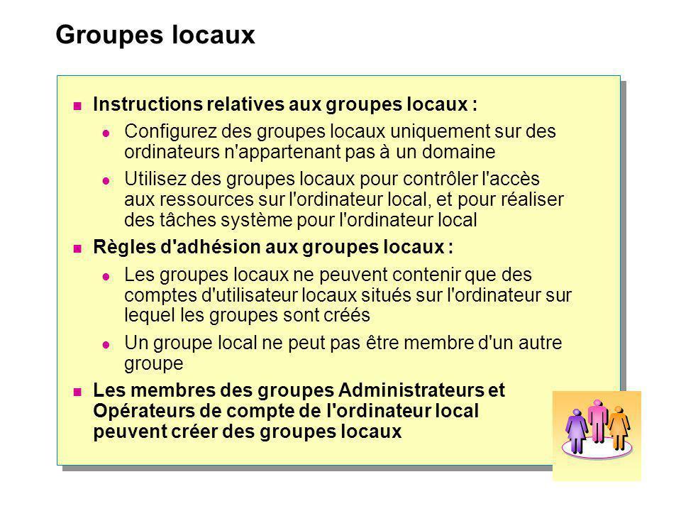 Groupes locaux Instructions relatives aux groupes locaux :