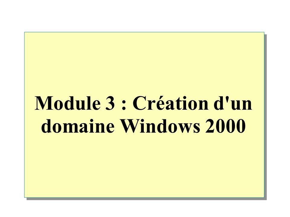 Module 3 : Création d un domaine Windows 2000