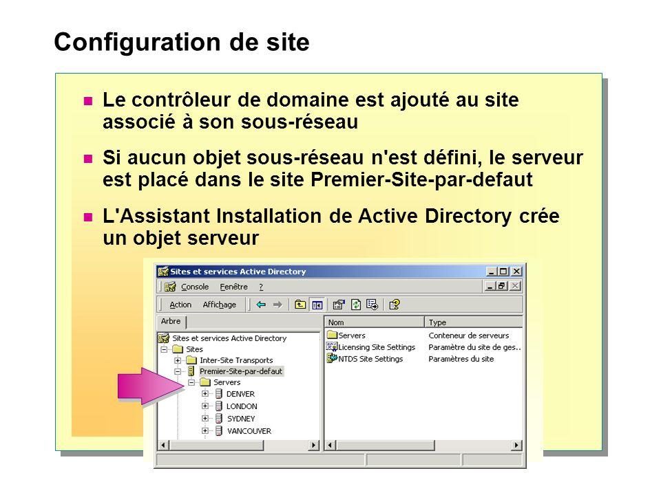 Configuration de site Le contrôleur de domaine est ajouté au site associé à son sous-réseau.