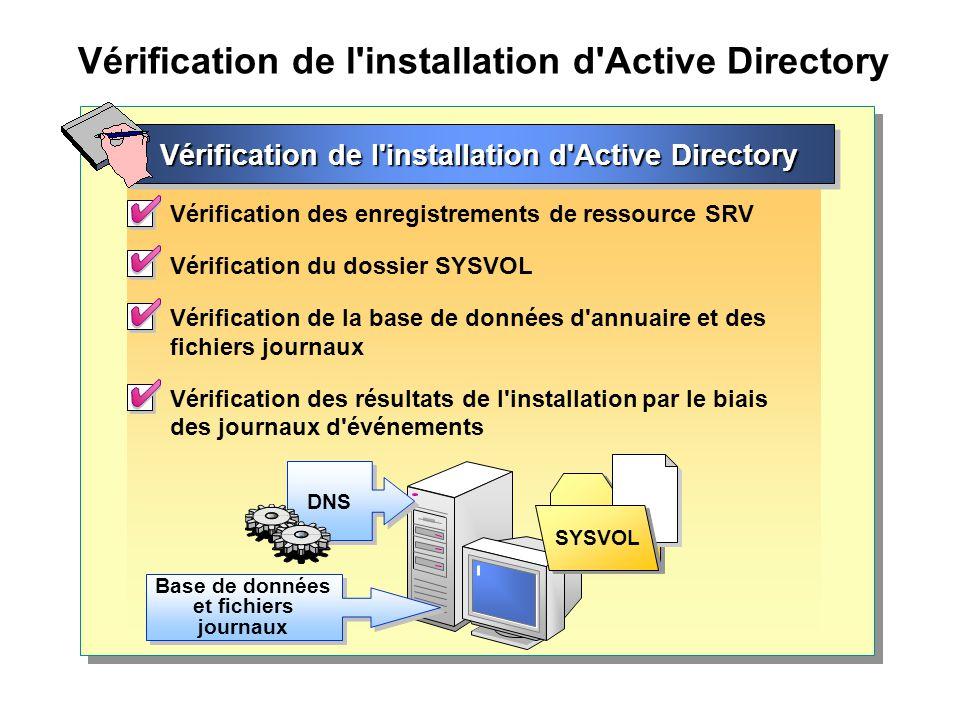 Vérification de l installation d Active Directory
