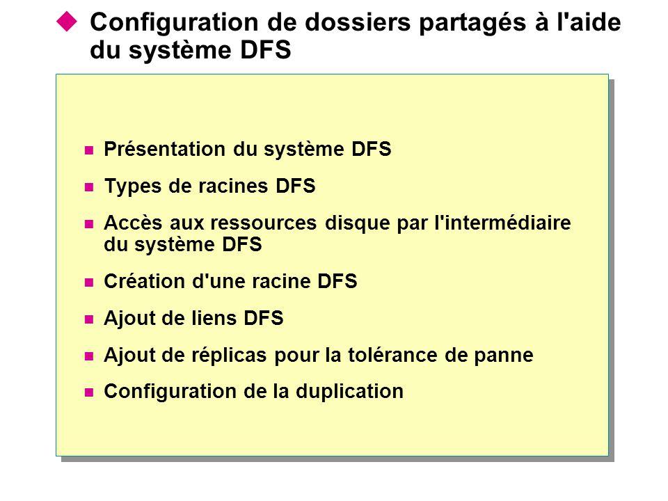 Configuration de dossiers partagés à l aide du système DFS