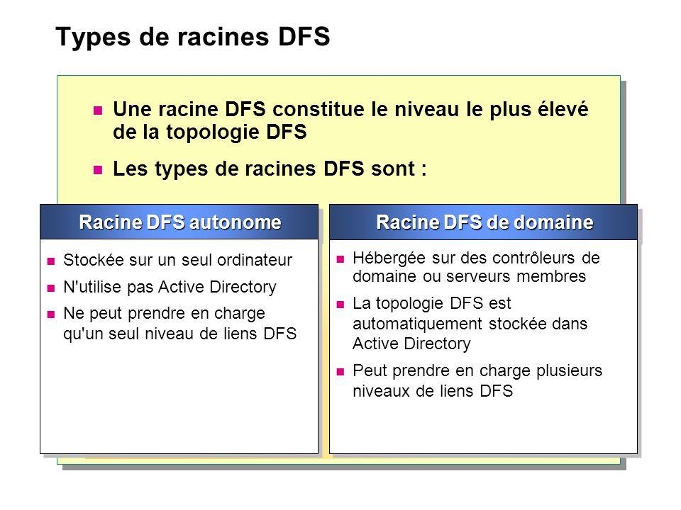 Types de racines DFS Une racine DFS constitue le niveau le plus élevé de la topologie DFS. Les types de racines DFS sont :