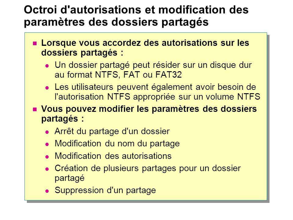 Octroi d autorisations et modification des paramètres des dossiers partagés