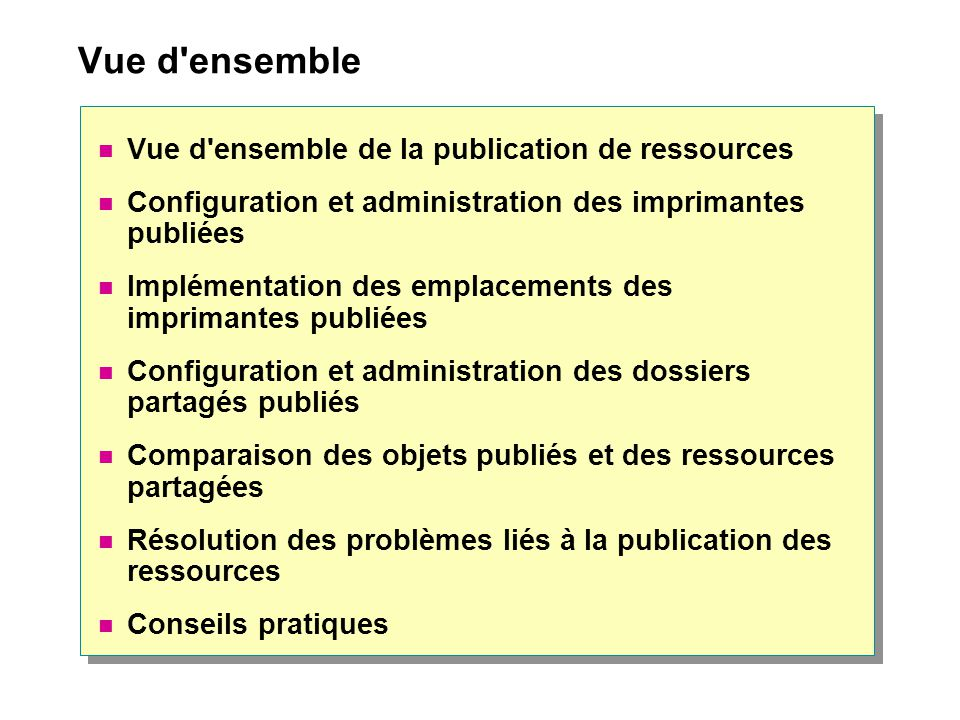 Vue d ensemble Vue d ensemble de la publication de ressources