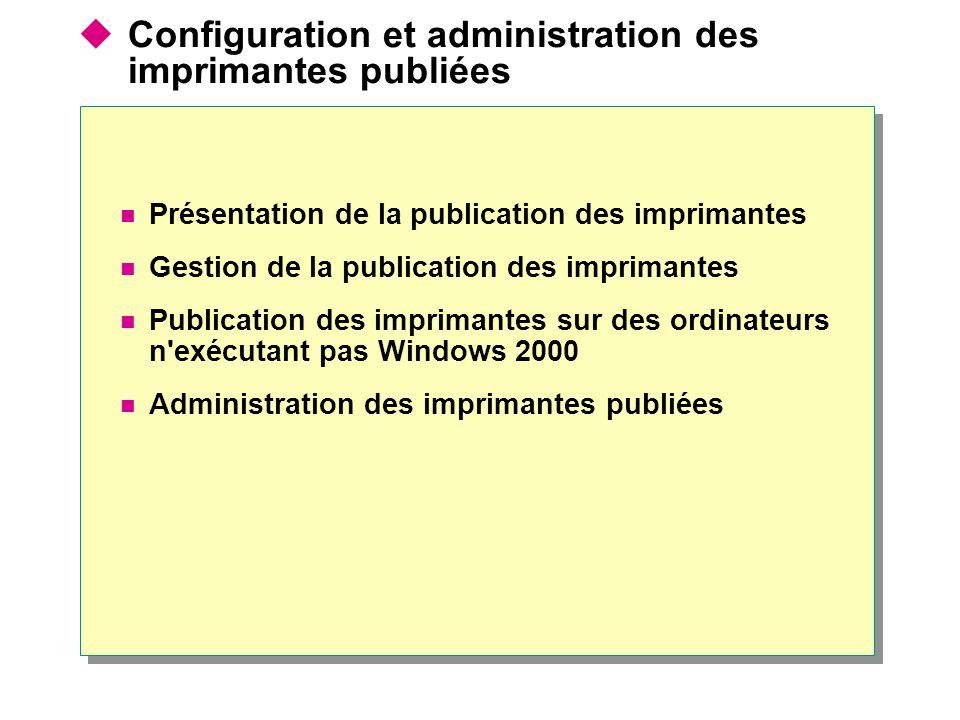 Configuration et administration des imprimantes publiées