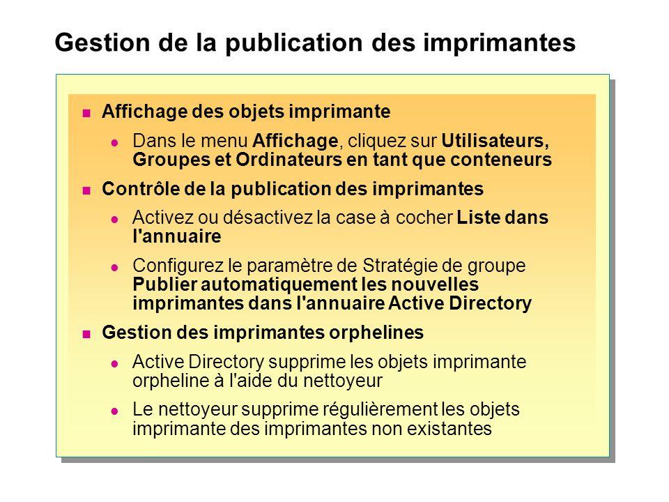 Gestion de la publication des imprimantes