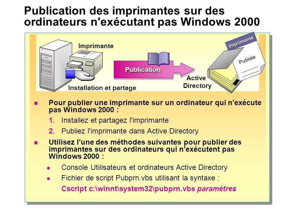 Publication des imprimantes sur des ordinateurs n exécutant pas Windows 2000