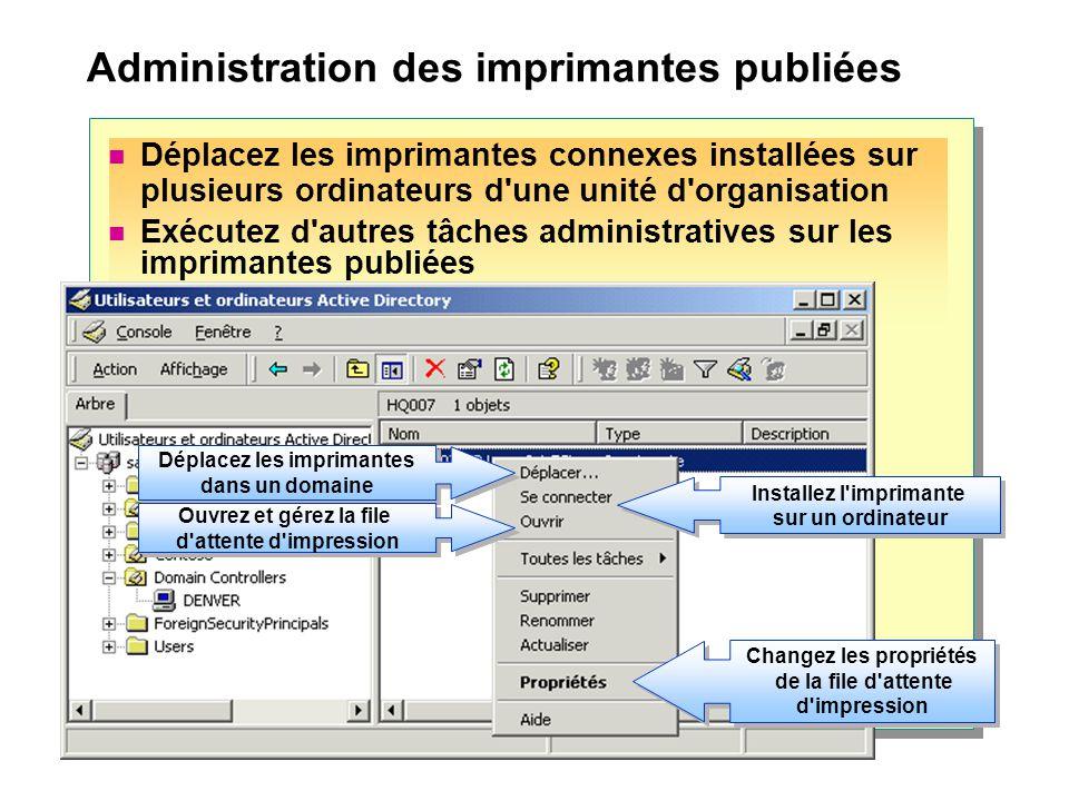 Administration des imprimantes publiées