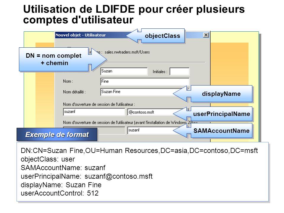 Utilisation de LDIFDE pour créer plusieurs comptes d utilisateur