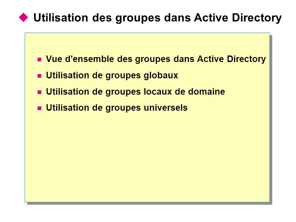 Utilisation des groupes dans Active Directory