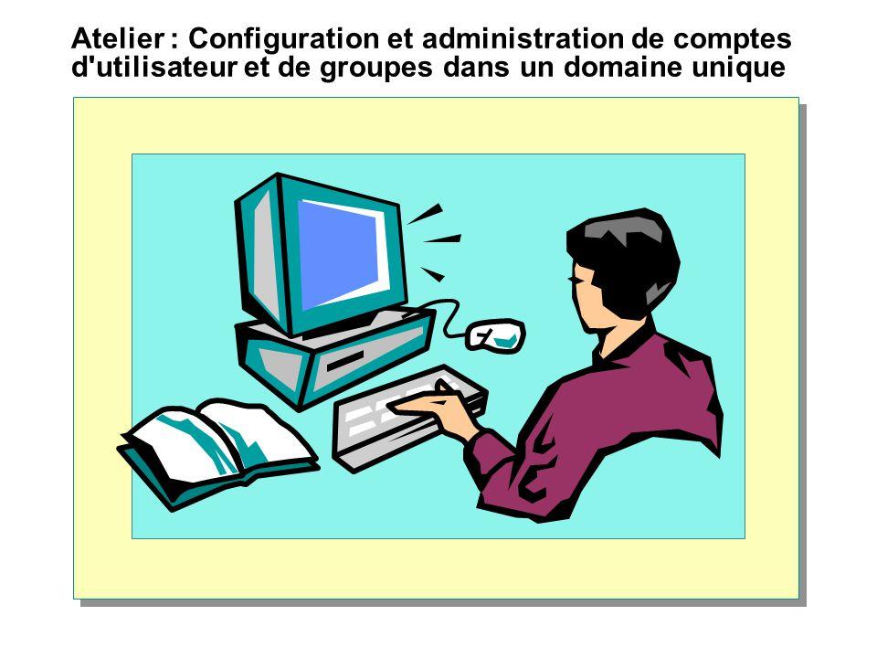 Atelier : Configuration et administration de comptes d utilisateur et de groupes dans un domaine unique