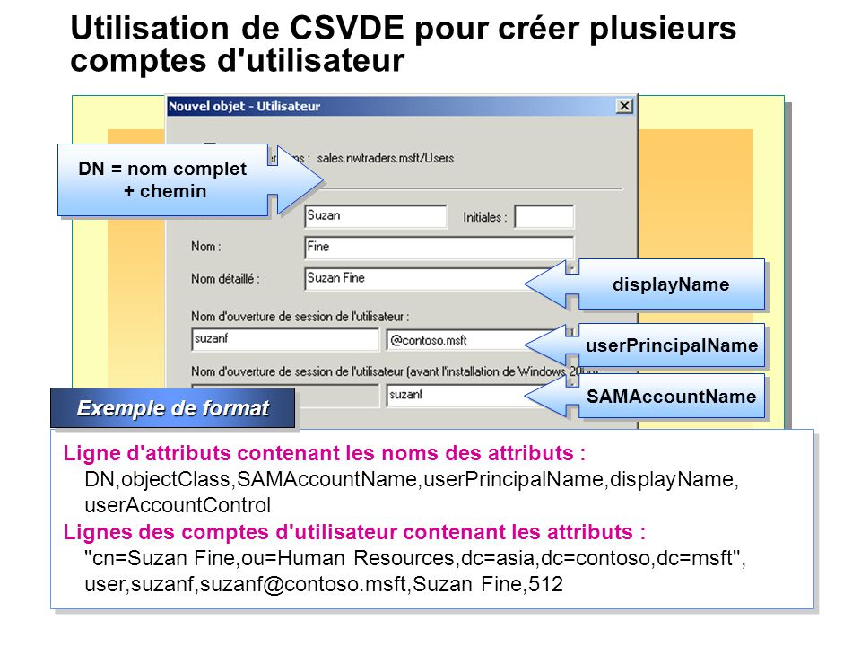 Utilisation de CSVDE pour créer plusieurs comptes d utilisateur