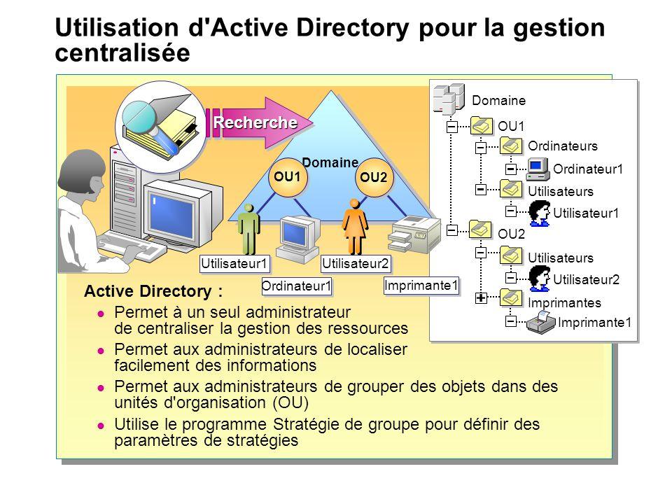 Utilisation d Active Directory pour la gestion centralisée