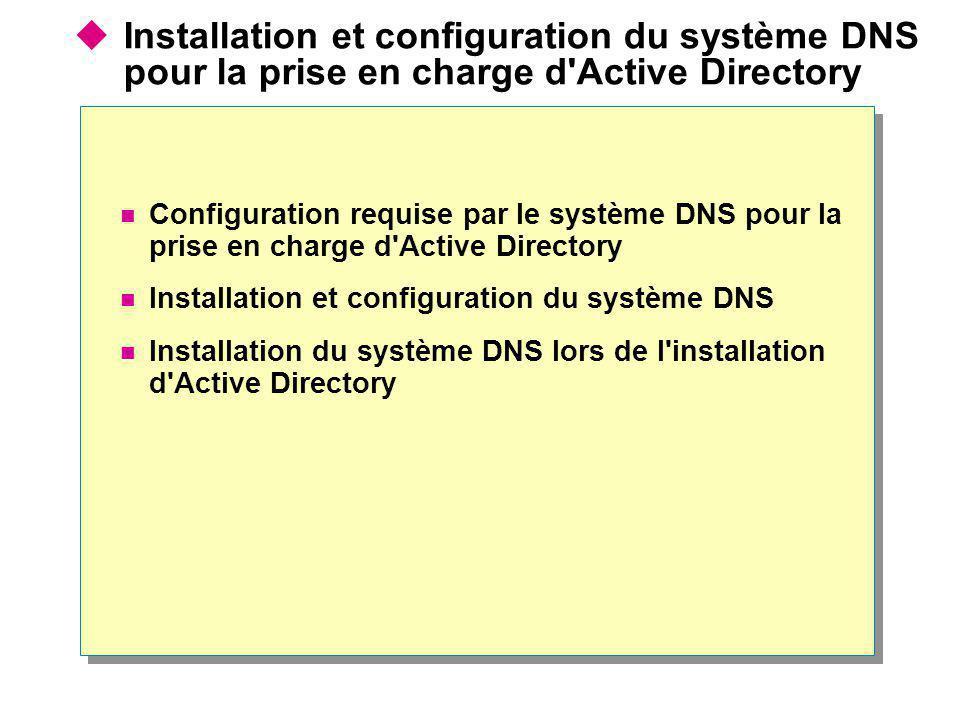 Installation et configuration du système DNS pour la prise en charge d Active Directory