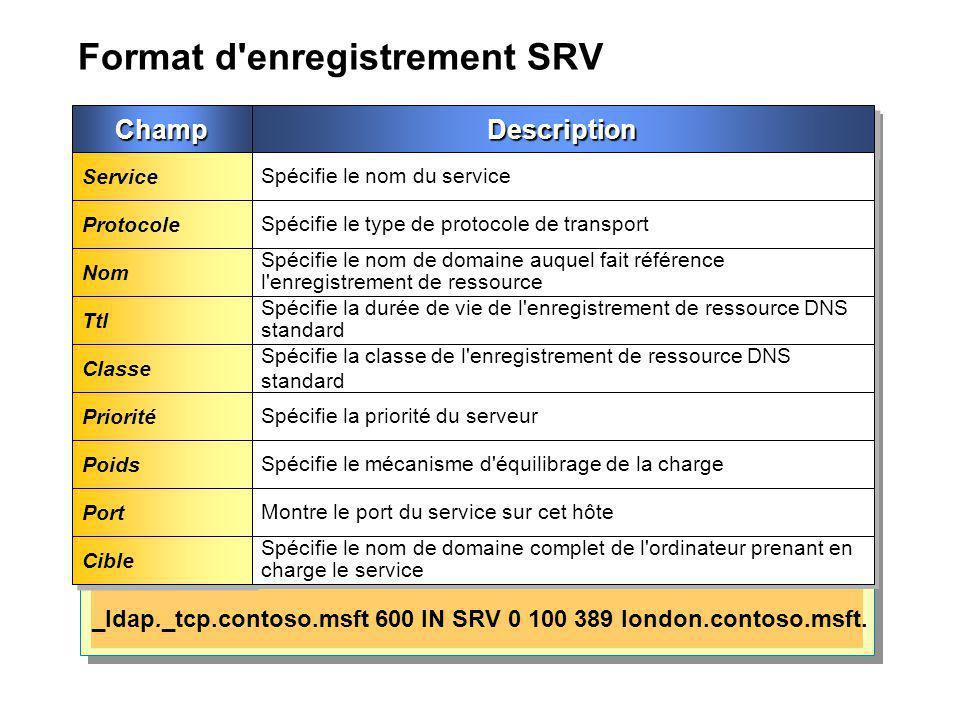 Format d enregistrement SRV