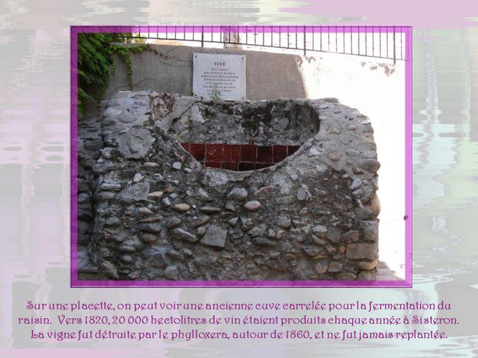 Sur une placette, on peut voir une ancienne cuve carrelée pour la fermentation du raisin.