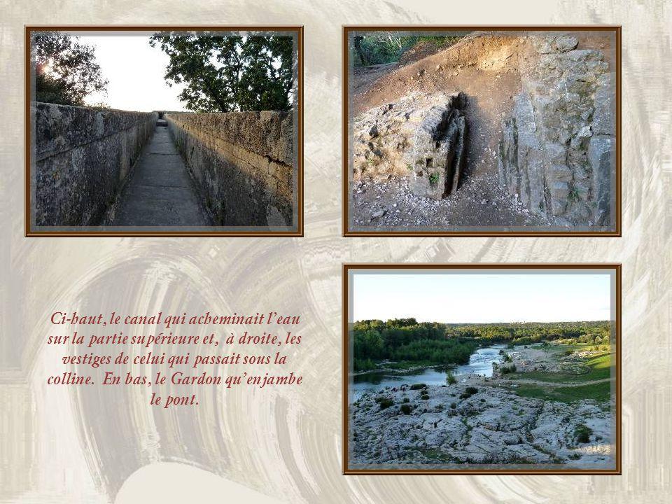 Ci-haut, le canal qui acheminait l'eau sur la partie supérieure et, à droite, les vestiges de celui qui passait sous la colline.