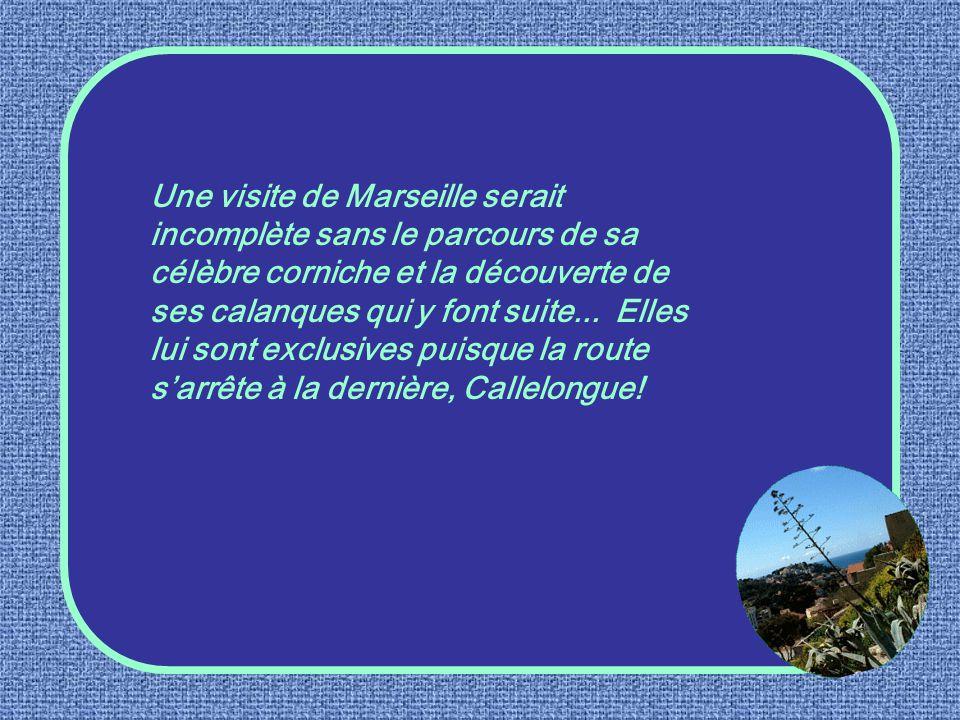 Une visite de Marseille serait incomplète sans le parcours de sa célèbre corniche et la découverte de ses calanques qui y font suite...