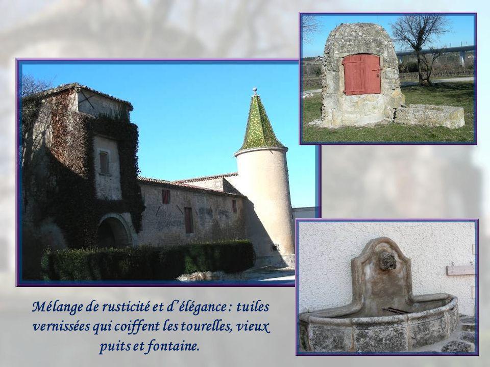 Mélange de rusticité et d'élégance : tuiles vernissées qui coiffent les tourelles, vieux puits et fontaine.