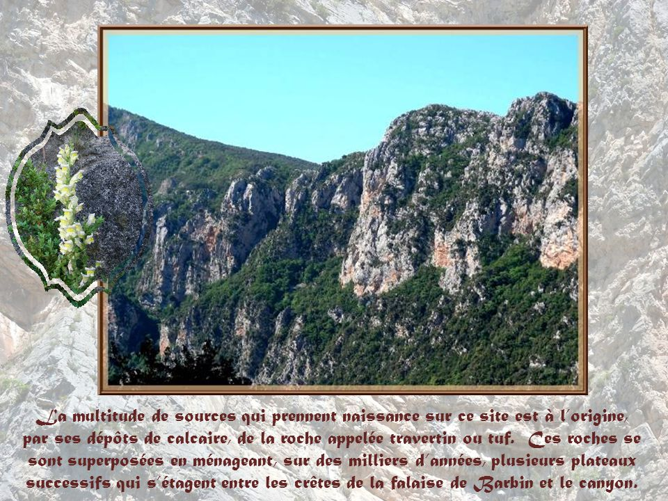 La multitude de sources qui prennent naissance sur ce site est à l'origine, par ses dépôts de calcaire, de la roche appelée travertin ou tuf.
