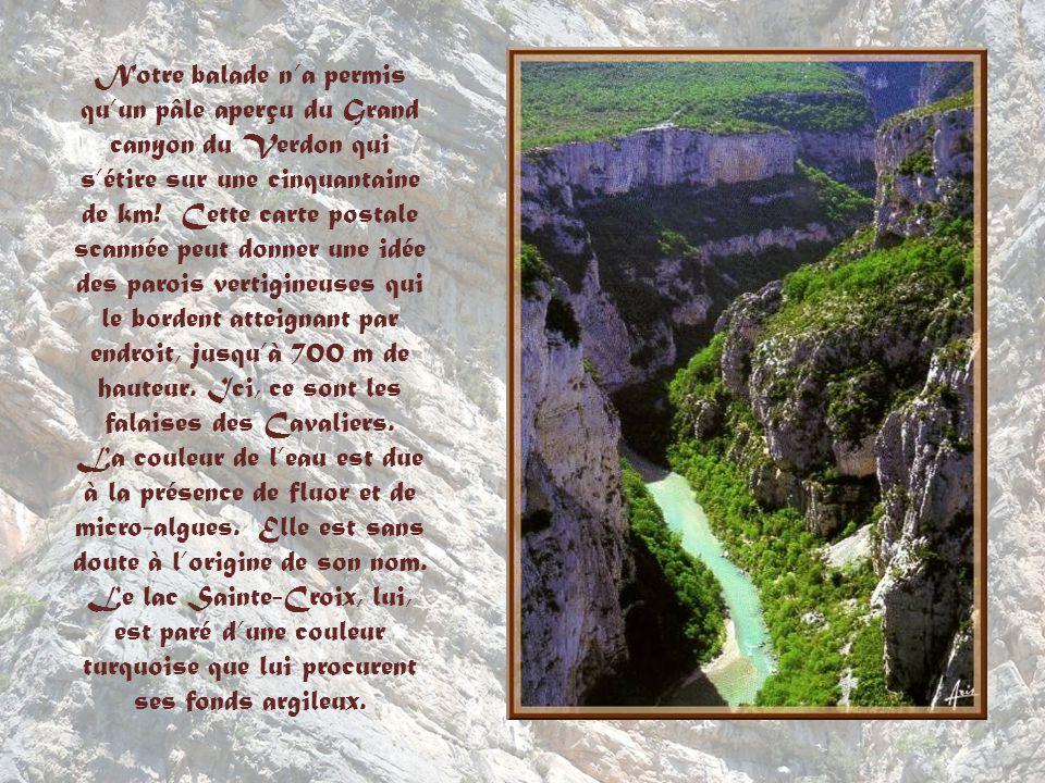 Notre balade n'a permis qu'un pâle aperçu du Grand canyon du Verdon qui s'étire sur une cinquantaine de km! Cette carte postale scannée peut donner une idée des parois vertigineuses qui le bordent atteignant par endroit, jusqu'à 700 m de hauteur. Ici, ce sont les falaises des Cavaliers.