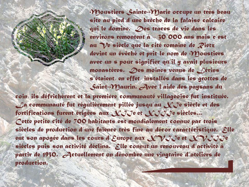 Moustiers Sainte-Marie occupe un très beau site au pied d'une brèche de la falaise calcaire qui le domine. Des traces de vie dans les environs remontent à – 30 000 ans mais c'est au Ve siècle que la cité romaine de Rietz devint un évêché et prit le nom de Moustiers avec un s pour signifier qu'il y avait plusieurs monastères. Des moines venus de Lérins s'étaient, en effet, installés dans les grottes de Saint-Maurin. Avec l'aide des paysans du