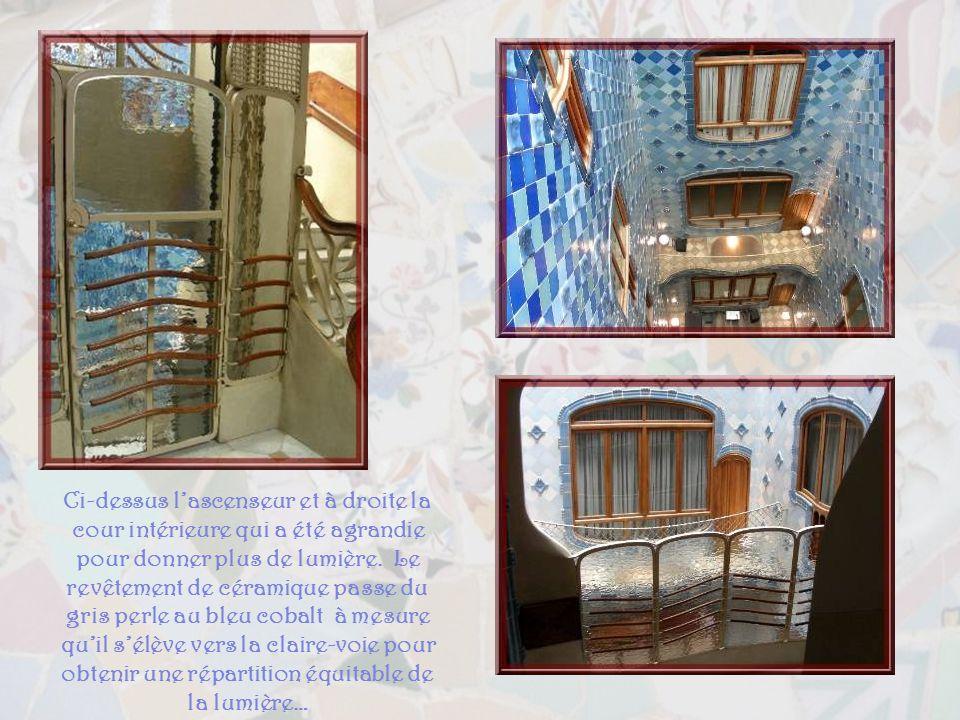 Ci-dessus l'ascenseur et à droite la cour intérieure qui a été agrandie pour donner plus de lumière.
