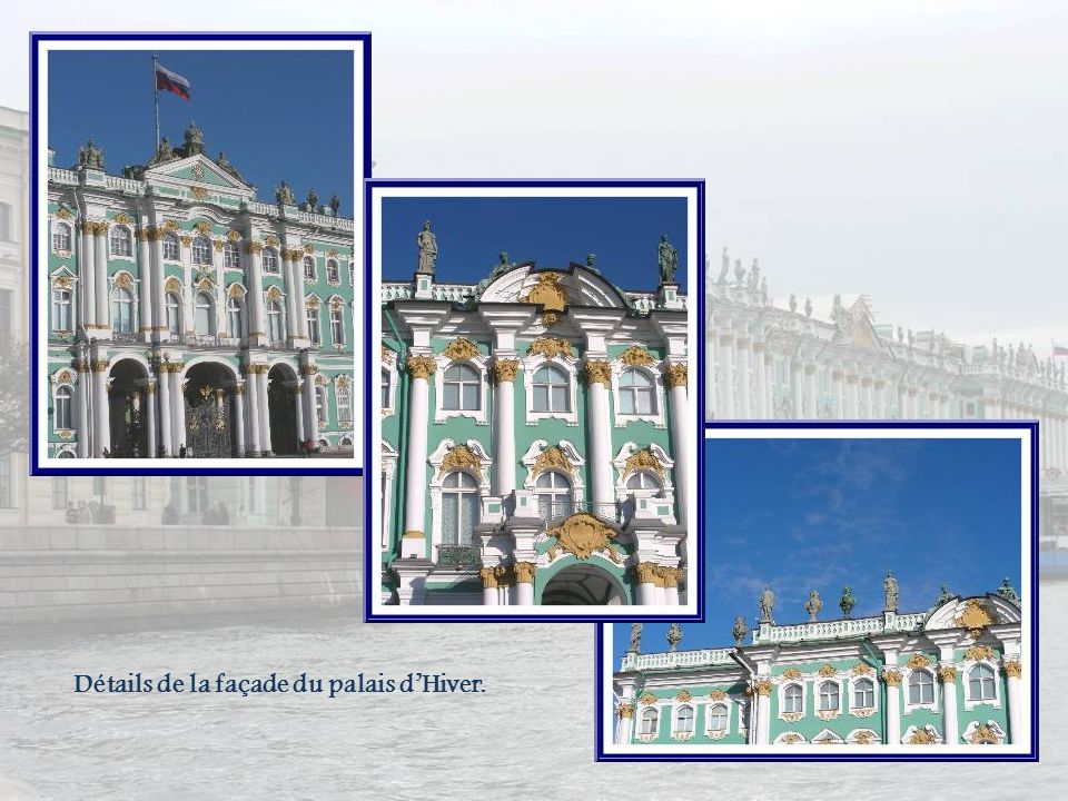 Détails de la façade du palais d'Hiver.