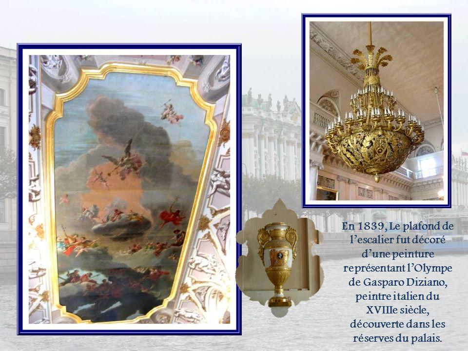 En 1839, Le plafond de l'escalier fut décoré d'une peinture représentant l'Olympe de Gasparo Diziano, peintre italien du XVIIIe siècle, découverte dans les réserves du palais.