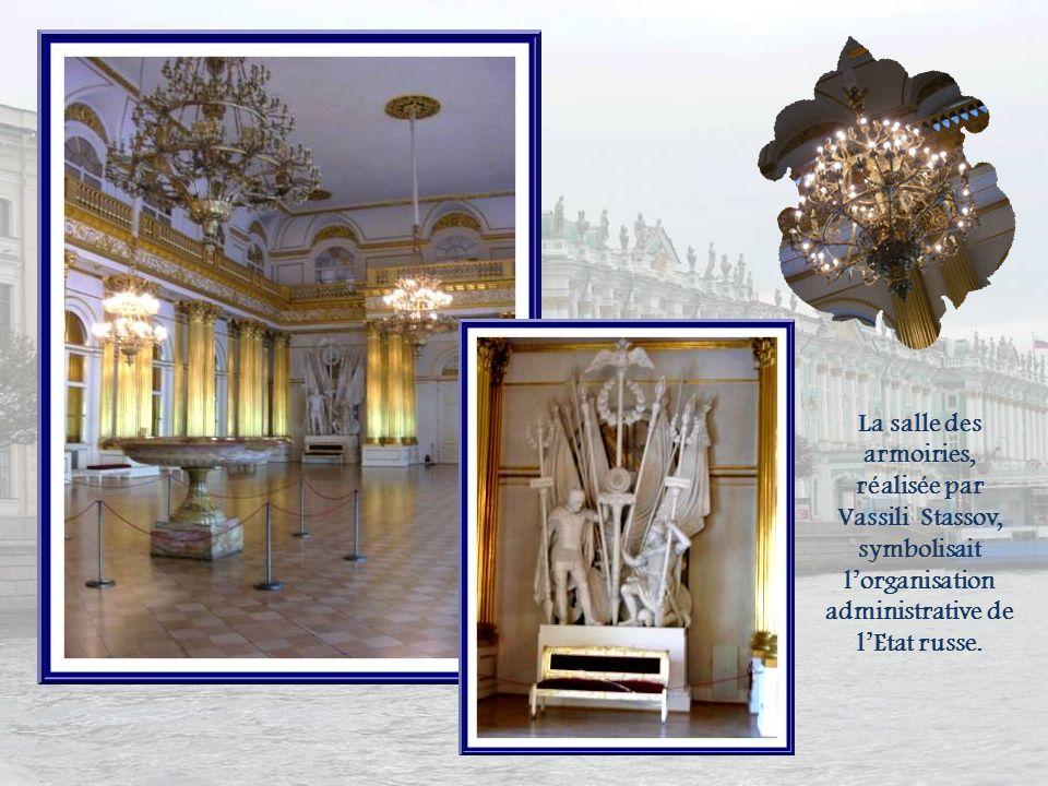 La salle des armoiries, réalisée par Vassili Stassov, symbolisait l'organisation administrative de l'Etat russe.