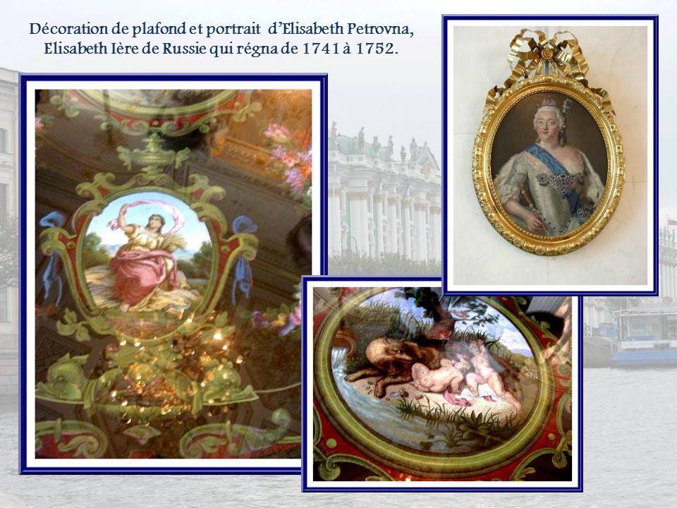 Décoration de plafond et portrait d'Elisabeth Petrovna, Elisabeth Ière de Russie qui régna de 1741 à 1752.