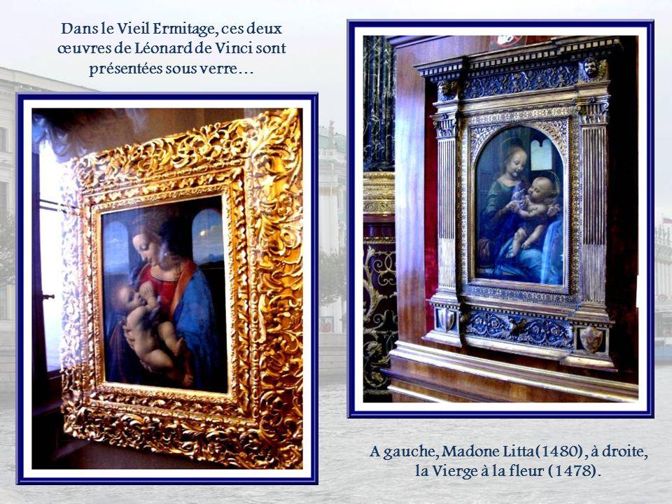 A gauche, Madone Litta(1480), à droite, la Vierge à la fleur (1478).