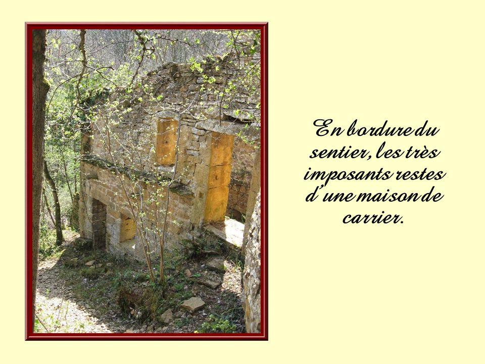 En bordure du sentier, les très imposants restes d'une maison de carrier.