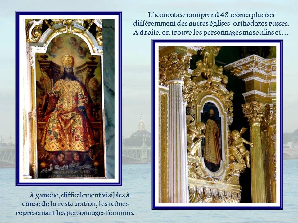 L'iconostase comprend 43 icônes placées différemment des autres églises orthodoxes russes. A droite, on trouve les personnages masculins et…