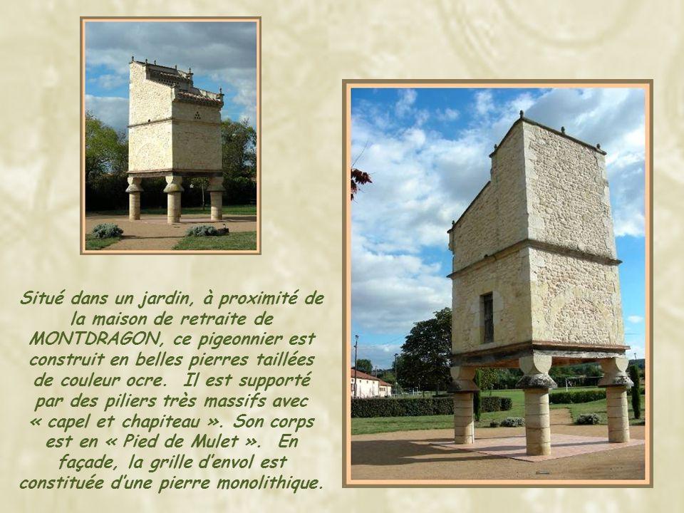 Situé dans un jardin, à proximité de la maison de retraite de MONTDRAGON, ce pigeonnier est construit en belles pierres taillées de couleur ocre.