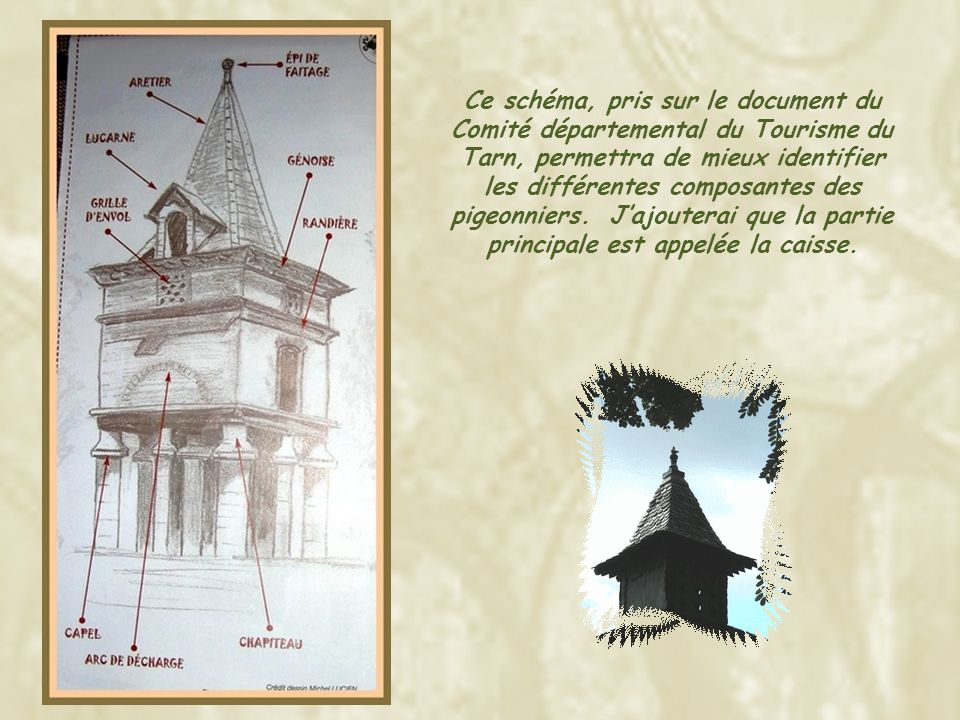 Ce schéma, pris sur le document du Comité départemental du Tourisme du Tarn, permettra de mieux identifier les différentes composantes des pigeonniers.