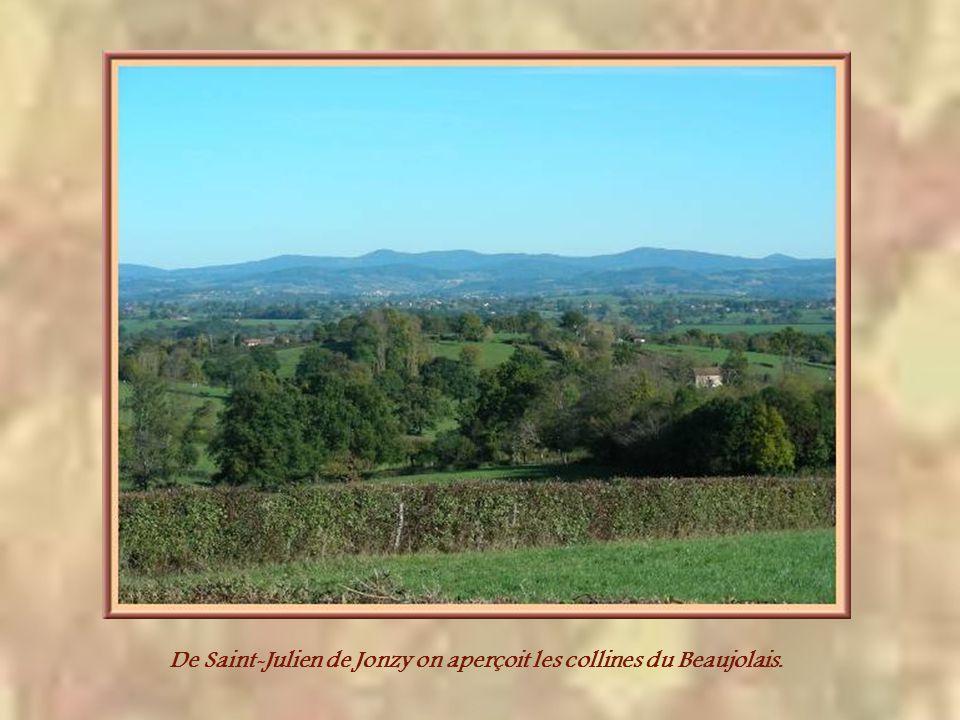 De Saint-Julien de Jonzy on aperçoit les collines du Beaujolais.